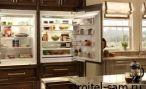 Встроенный холодильник на домашней кухне