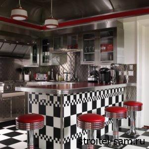 винтажная кухня в красно-белом цвете