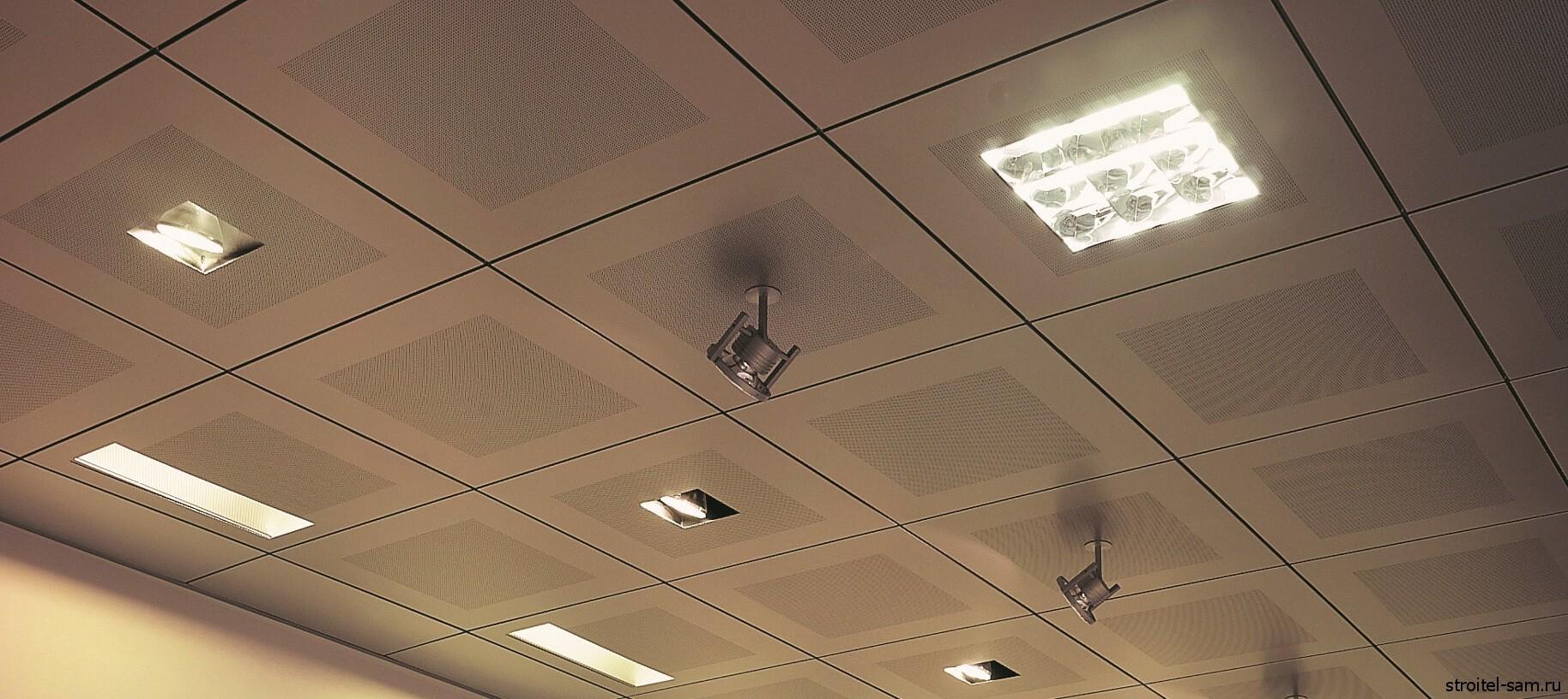 Потолок в квадратик