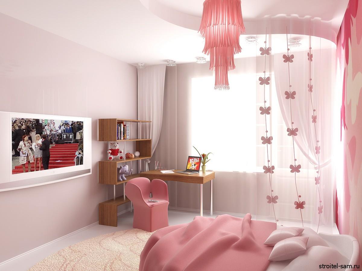 Комната с рабочим уголком для девочки